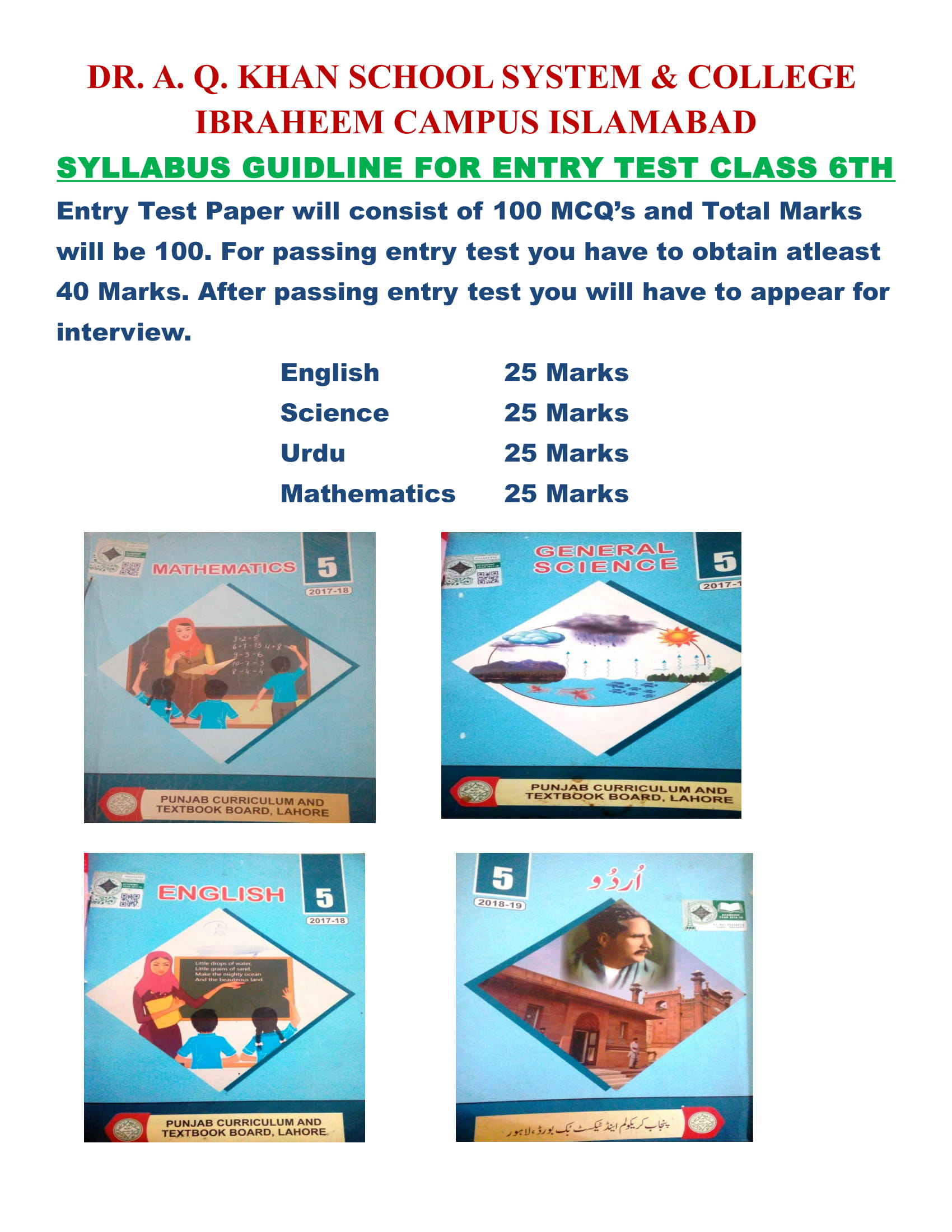 Syllabus | DR  A  Q  KHAN SCHOOL SYSTEM AND COLLEGE IBRAHEEM CAMPUS